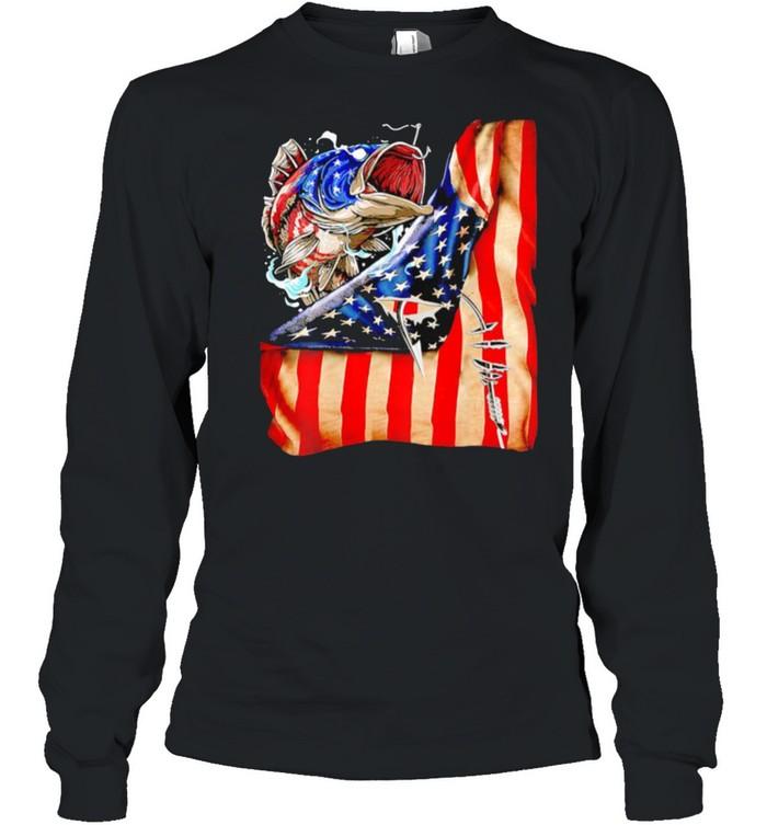 Fishing fish american flag shirt Long Sleeved T-shirt