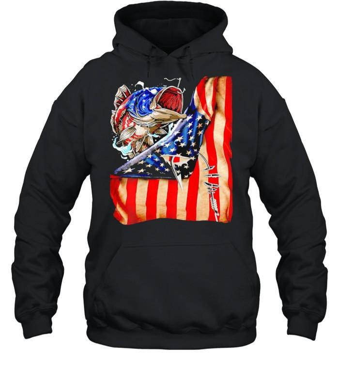 Fishing fish american flag shirt Unisex Hoodie