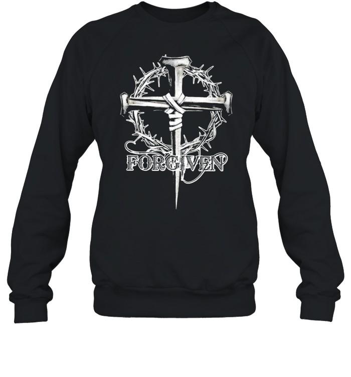 Forgiven floral christan cross shirt Unisex Sweatshirt