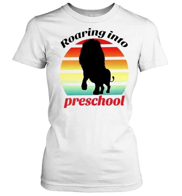 Lion roaring into preschool shirt Classic Women's T-shirt