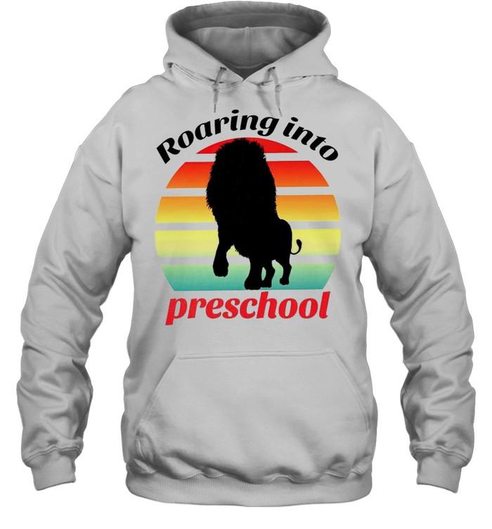 Lion roaring into preschool shirt Unisex Hoodie