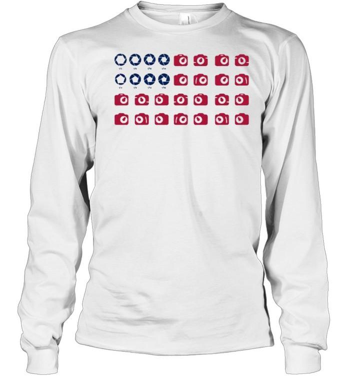 Camera American Flag  Long Sleeved T-shirt