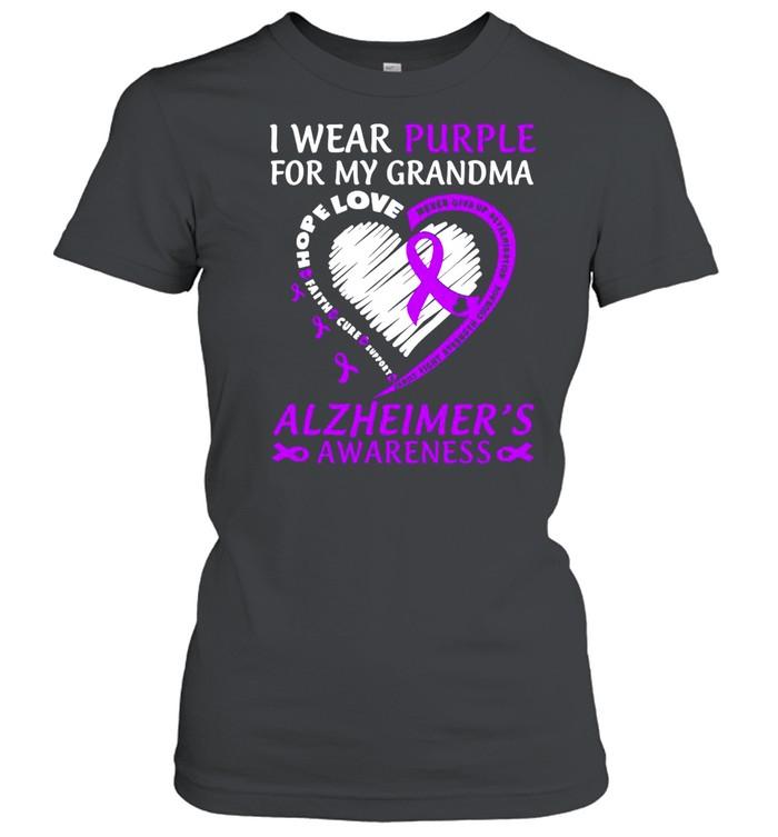 I Wear Purple For My Grandma Alzheimers Awareness  Classic Women's T-shirt