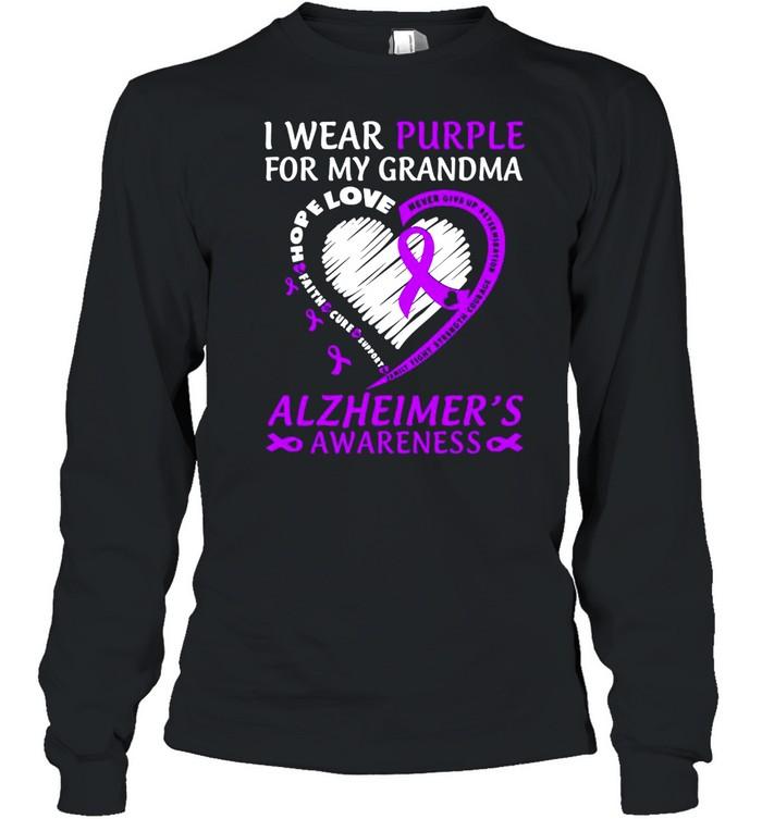 I Wear Purple For My Grandma Alzheimers Awareness  Long Sleeved T-shirt