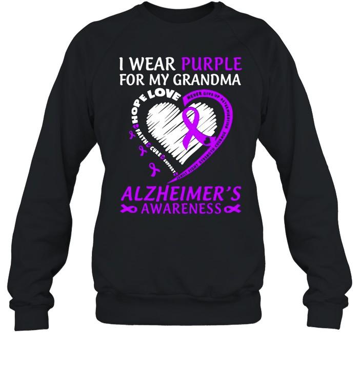 I Wear Purple For My Grandma Alzheimers Awareness  Unisex Sweatshirt